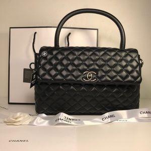 Chanel black coco handles handbag shoulder bag